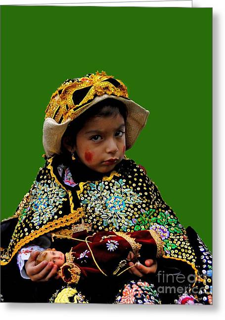 Baby Jesus Greeting Cards - Cuenca Kids 395 Greeting Card by Al Bourassa