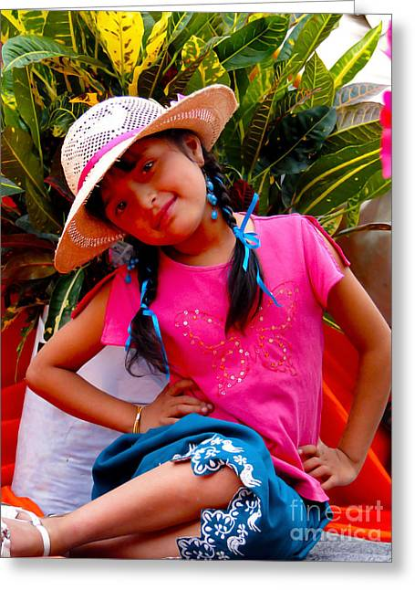 Baby Jesus Greeting Cards - Cuenca Kids 397 Greeting Card by Al Bourassa