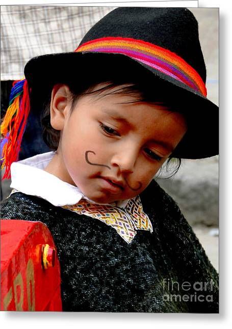Mustache Greeting Cards - Cuenca Kids 408 Greeting Card by Al Bourassa
