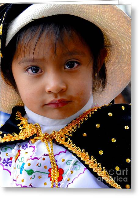 Baby Jesus Greeting Cards - Cuenca Kids 412 Greeting Card by Al Bourassa