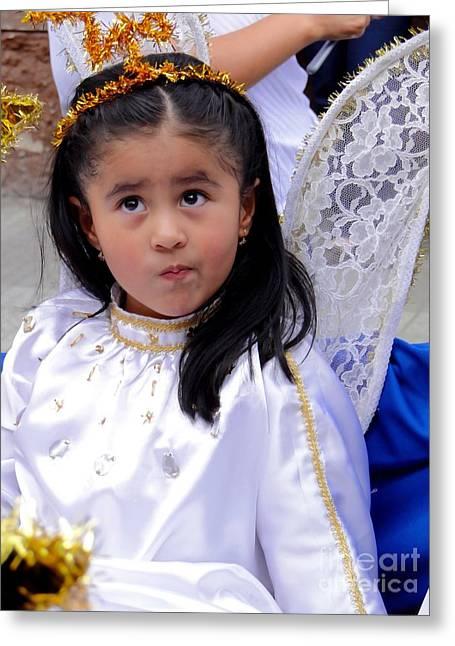 Baby Jesus Greeting Cards - Cuenca Kids 421 Greeting Card by Al Bourassa