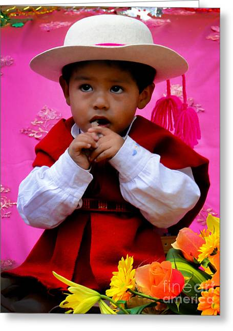Innocent Smile Greeting Cards - Cuenca Kids 429 Greeting Card by Al Bourassa