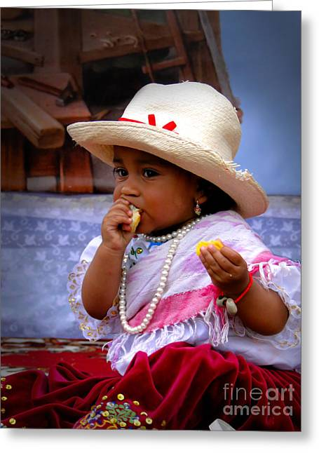 Cowgirl Skirt Greeting Cards - Cuenca Kids 435 Greeting Card by Al Bourassa