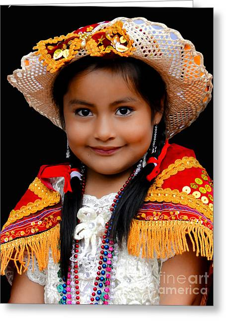 Special Necklace Greeting Cards - Cuenca Kids 447 Greeting Card by Al Bourassa