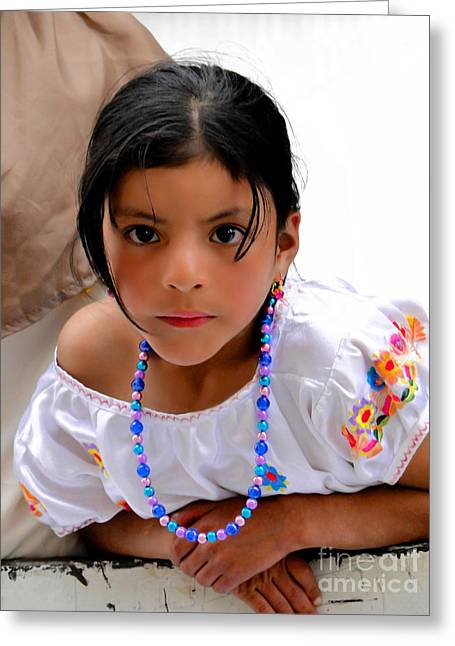 Special Necklace Greeting Cards - Cuenca Kids 448 Greeting Card by Al Bourassa