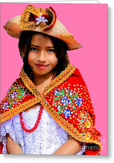 Special Necklace Greeting Cards - Cuenca Kids 494 Greeting Card by Al Bourassa