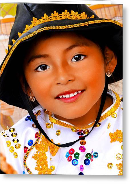 Innocence Child Greeting Cards - Cuenca Kids 496 Greeting Card by Al Bourassa
