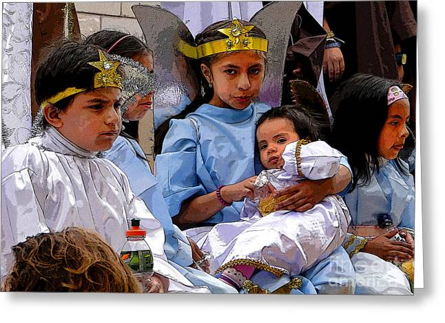 Innocence Child Greeting Cards - Cuenca Kids 589 Greeting Card by Al Bourassa