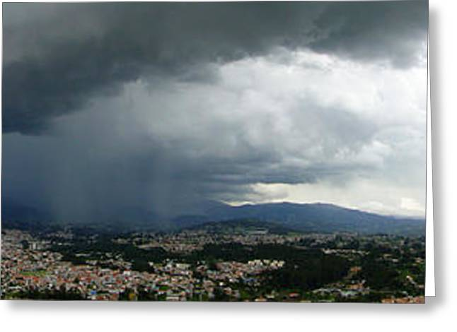 Lightning Photographer Greeting Cards - Cuenca Storm Panorama Greeting Card by Al Bourassa