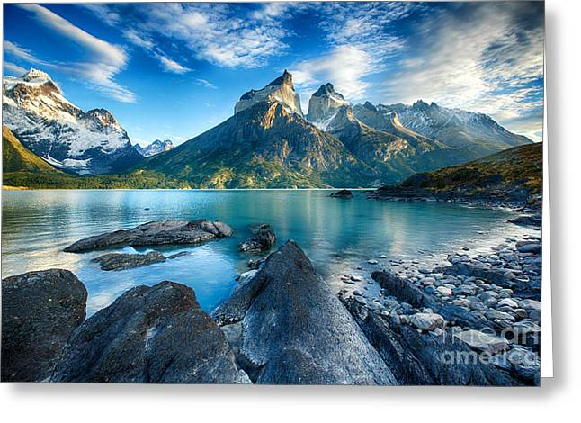 Snow Capped Greeting Cards - Cuernos of Torres del Paine Greeting Card by Timothy Hacker