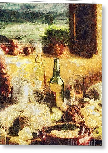 Table Wine Greeting Cards - Cuisine Greeting Card by Mo T