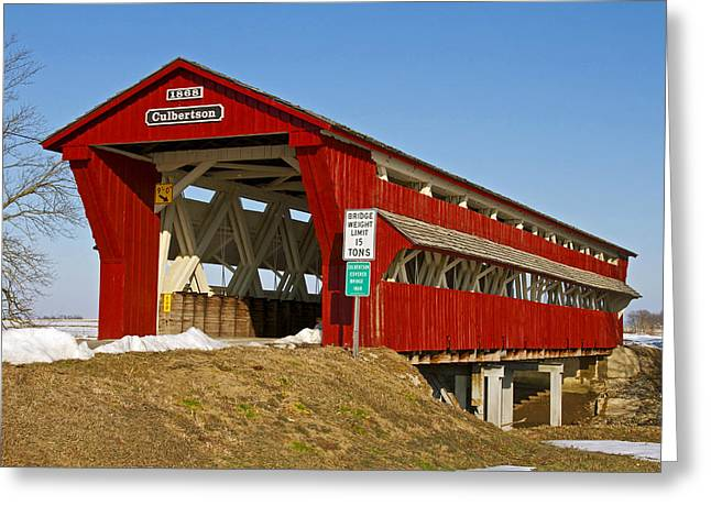 Culbertson or Treacle Creek Covered Bridge Greeting Card by Jack R Perry