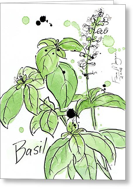 Menu Greeting Cards - Culinary Herbs - Basil Greeting Card by Fiona Morgan