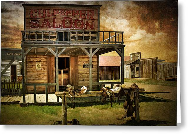 Randy Greeting Cards - Culpepper Western Town Saloon Greeting Card by Randall Nyhof