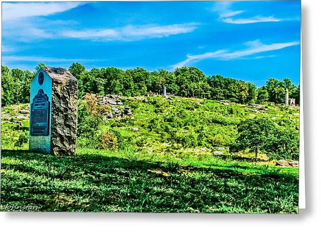 Confederate Monument Greeting Cards - Culps Hill and Cemetary Ridge Gettysburg Battleground Greeting Card by  Bob and Nadine Johnston