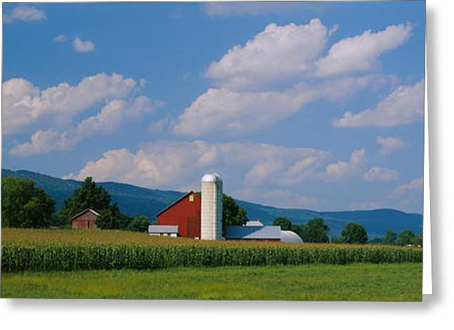 Amish Scenes Greeting Cards - Cultivated Field In Front Of A Barn Greeting Card by Panoramic Images