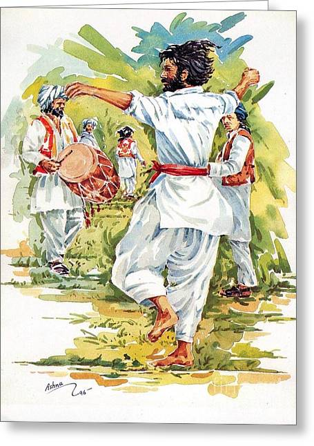 Belt Drawings Greeting Cards - Cultural Dance of Afghanistan Attan Greeting Card by Hafiz Ashna
