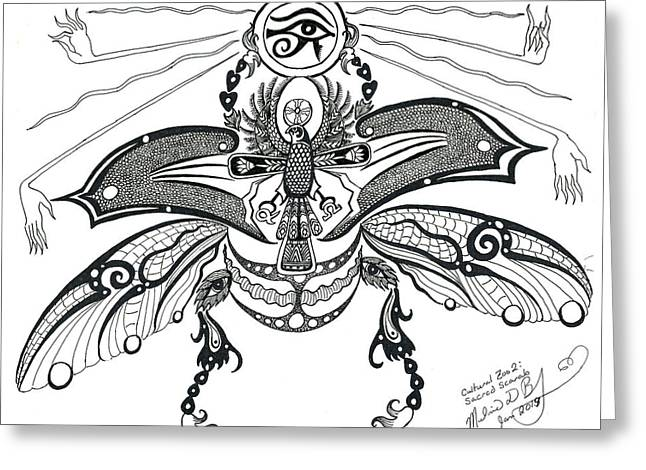 Horus Greeting Cards - Cultural Zoo 2 Sacred Scarab Greeting Card by Melinda Dare Benfield