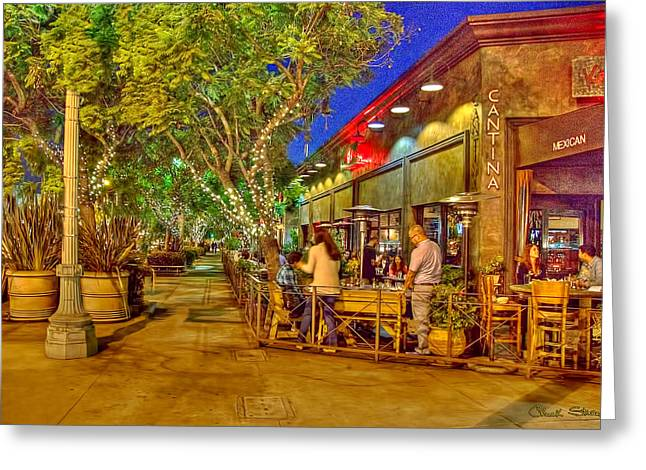 Night Cafe Greeting Cards - Culver City Cantina Greeting Card by Chuck Staley