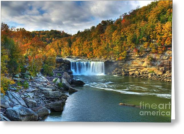 Autumn Scenes Greeting Cards - Cumberland Falls In Autumn Greeting Card by Mel Steinhauer