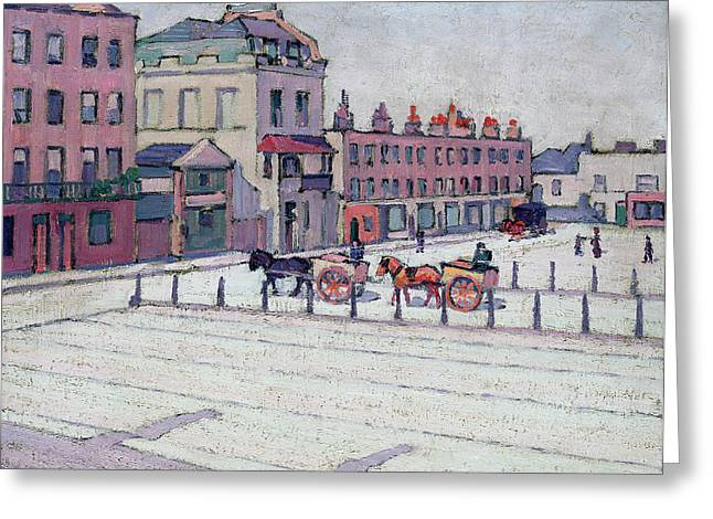 Horse Pulling Wagon Greeting Cards - Cumberland Market North Side Greeting Card by Robert Polhill Bevan