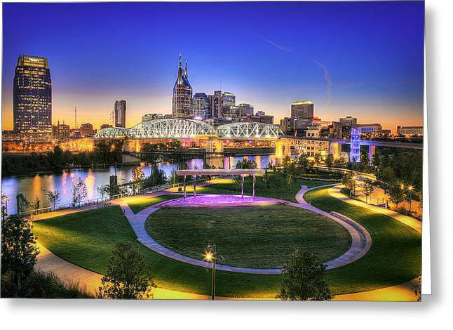 Music City Greeting Cards - Cumberland Park and Nashville Skyline Greeting Card by Lucas Foley