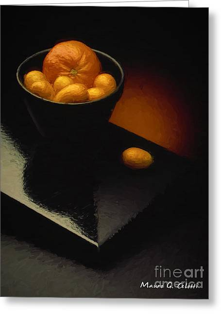 Abstract Digital Pyrography Greeting Cards - Cumquats Greeting Card by Mauro Celotti