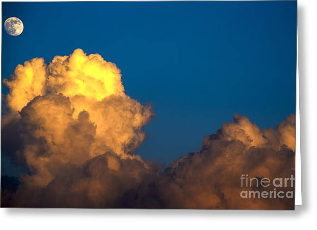 Super Moon Greeting Cards - Cumulonimbus Cloud  and Full Moon Greeting Card by Thomas R Fletcher