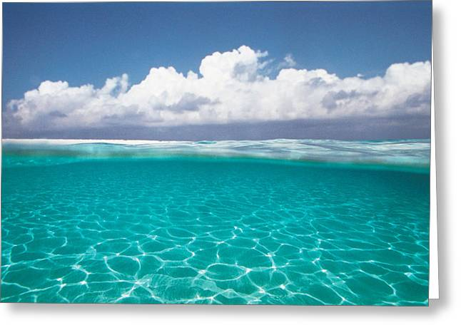 Absence Greeting Cards - Cumulus Clouds Over Sea, Aqua Greeting Card by Panoramic Images
