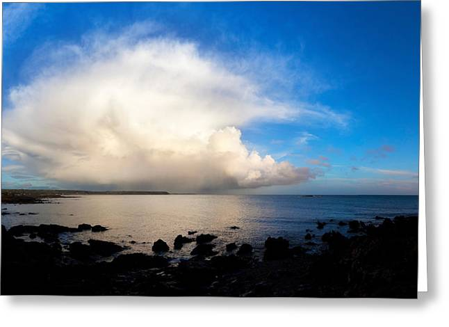 Cumulus Clouds Greeting Cards - Cumulus Clouds Over The Sea, Gold Greeting Card by Panoramic Images