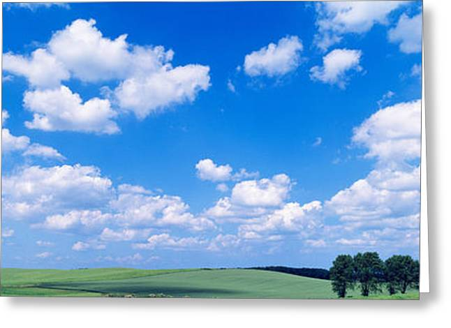 Cumulus Clouds Greeting Cards - Cumulus Clouds With Landscape, Blue Greeting Card by Panoramic Images