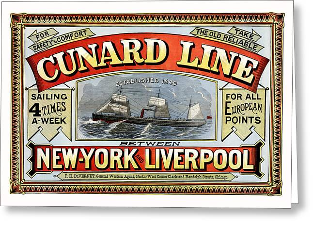 Antique Digital Art Greeting Cards - Cunard Line Greeting Card by Gary Grayson