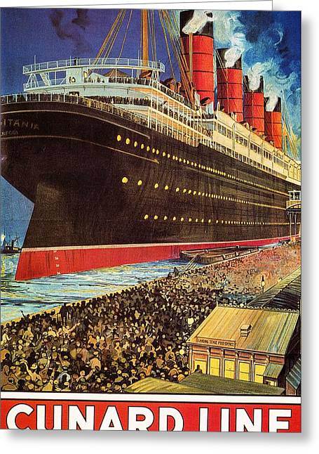 1907 Digital Greeting Cards - Cunard Line--the Lusitania Greeting Card by Unknown