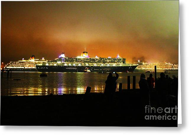 Sailing At Night Greeting Cards - Cunards 3 Queens Greeting Card by Terri  Waters