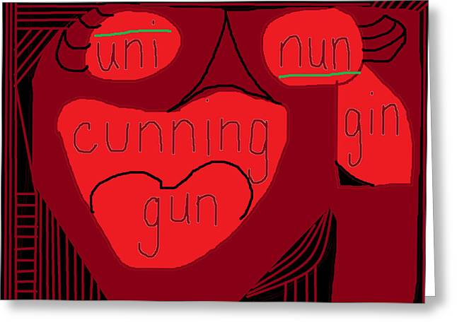 Abstract Digital Drawings Greeting Cards - Cunning  Greeting Card by Anita Dale Livaditis