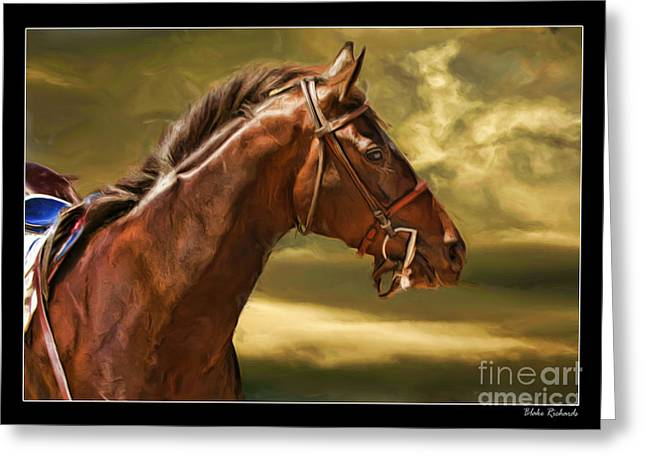 Horse Websites Greeting Cards - Cuore Bella The Race Horse Greeting Card by Blake Richards