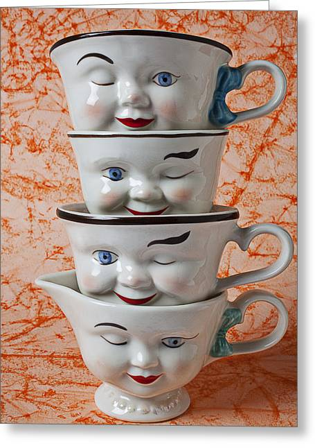 Cup Photographs Greeting Cards - Cup faces Greeting Card by Garry Gay