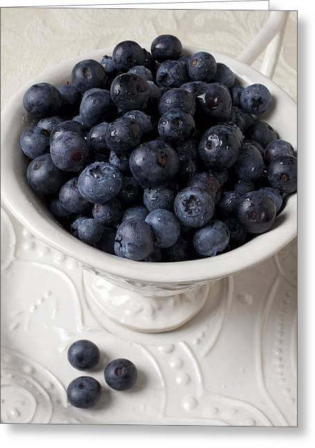 White Bowl Greeting Cards - Cup full of blueberries Greeting Card by Garry Gay