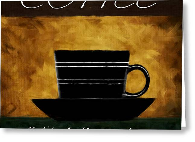 Caffe Latte Greeting Cards - Cup O Coffee Greeting Card by Lourry Legarde