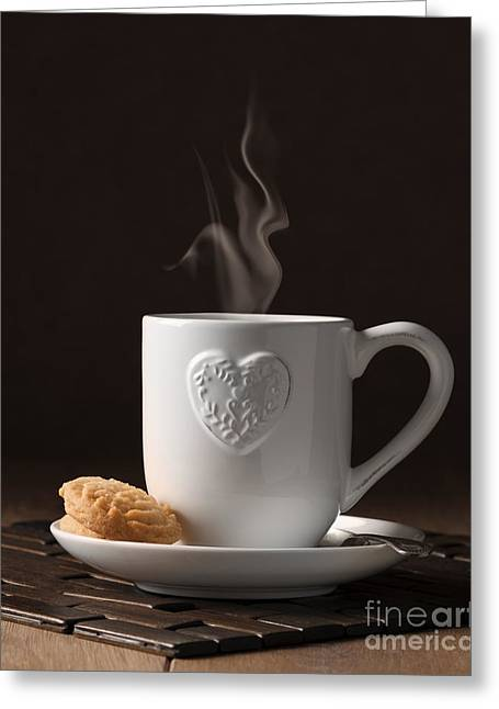 Coffee Table Greeting Cards - Cup Of Coffee Greeting Card by Amanda And Christopher Elwell
