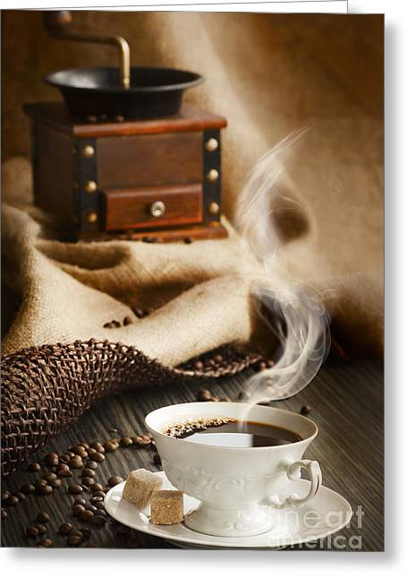 Mythja Greeting Cards - Cup of coffee Greeting Card by Mythja  Photography
