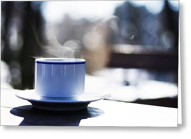 Pause Greeting Cards - Cup of hot steaming coffee outdoors Greeting Card by Newnow Photography By Vera Cepic