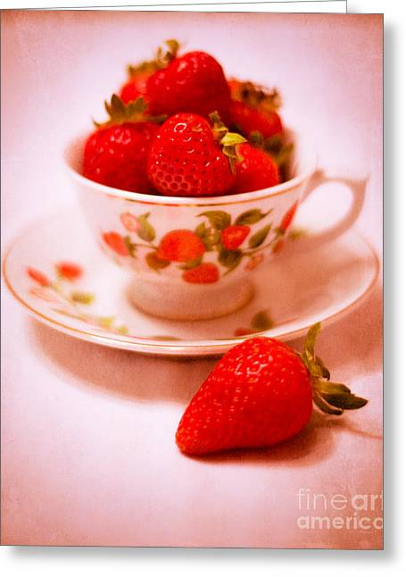 White China Cup Greeting Cards - Cup of Strawberries Greeting Card by Sonja Quintero