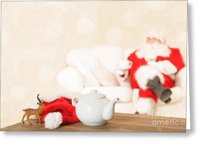 Settee Greeting Cards - Cup Of Tea For Santa Greeting Card by Amanda And Christopher Elwell