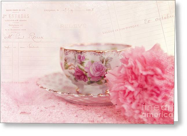 Doily Greeting Cards - Cup of Tea Greeting Card by Kay Pickens