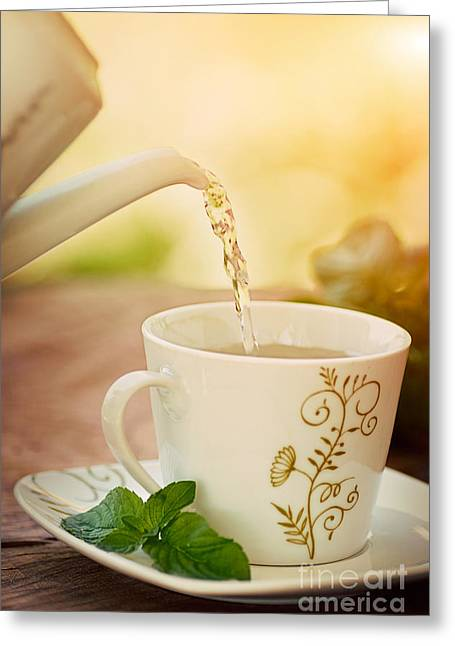 Mythja Photographs Greeting Cards - Cup of tea Greeting Card by Mythja  Photography