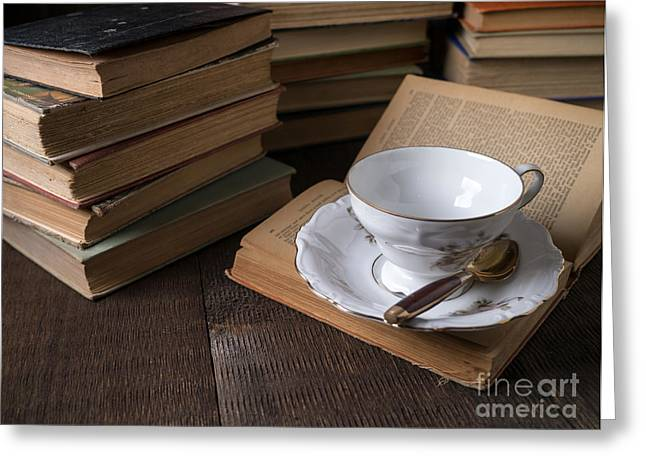 Library Greeting Cards - Cup of tea with old friends Greeting Card by Edward Fielding