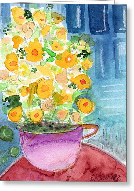 Interior Still Life Mixed Media Greeting Cards - Cup of Yellow Flowers- abstract floral painting Greeting Card by Linda Woods