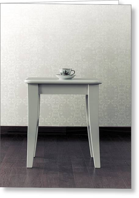 Cup Photographs Greeting Cards - Cup On Stool Greeting Card by Joana Kruse