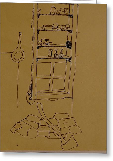 Fries Drawings Greeting Cards - Cupboard Greeting Card by Erika Chamberlin